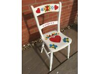Vintage Hand Painted Wooden Chair overall height 32 inches seat height 17 inches