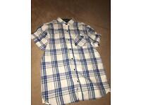 Next blue black and white tartan button shirt age 12