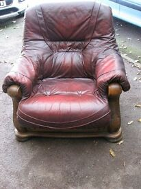 Solid oak frame arm chairs x 2, Burgundy leather upholstery, comfortable, good renovation project
