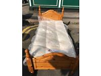 Pine Single Bed With Brand New Pearl Ortho Mattress