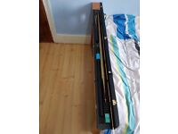 Snooker Cue 3/4 Two-Piece Ash Ebony Inlay Handmade with Leather Case