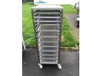 Catering shelving trolley stainless steel
