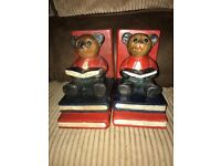 Teddy Bear carved wood book ends