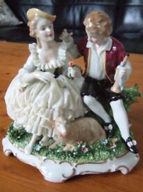 Unterweissbach-Dresden Porcelain Couple with Sheep Figure