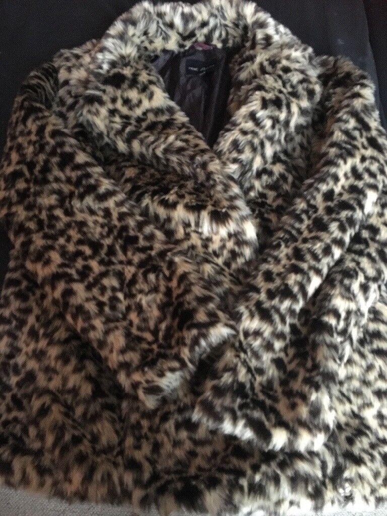 Nearly new Next petite size 16 leopard print faux fur coat