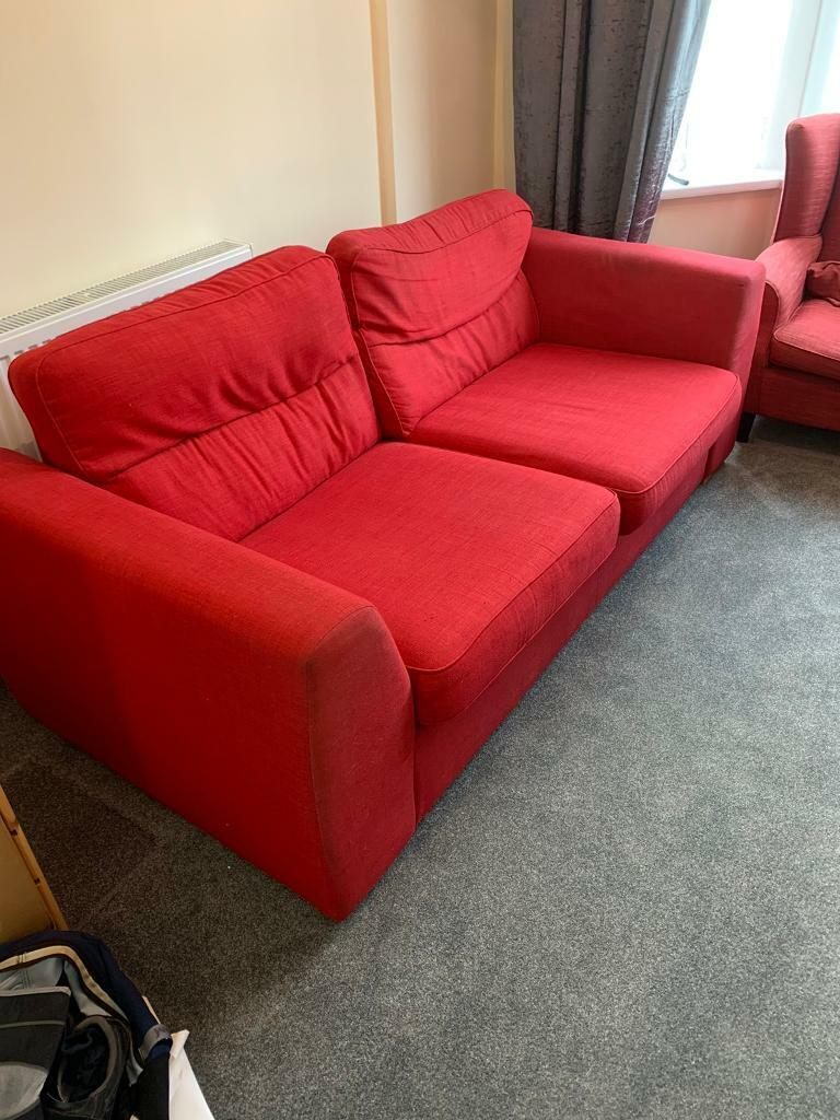 Large 2 Seater DFS Sofa , 2 Armchairs & Ikea Footrest | in Plaistow, London | Gumtree