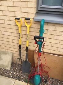 Bargain!!! Bosch Electric Corded Grass Trimmer & Stanley Fork and Spade