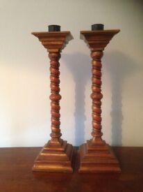 Set of tall Candlesticks. Turned wooden twists, gold colour. 63cm height. £50. Buyer picks up..