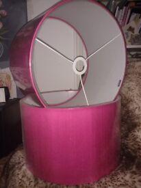 New Habitat large silk drum lampshade ceiling light pink £10 each