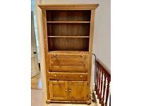 Oak writing bureau/bookcase