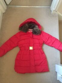 Girls red Marks and Spencer's coat age 7-8