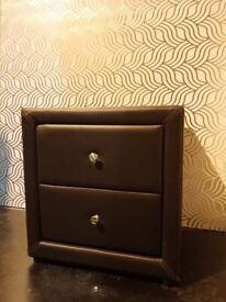 Ex Display Dark Brown Faux Leather Two Drawer Bedside Cabinet (Was £99.99)