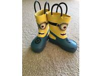 BRAND NEW Minions kids size 6 wellie boots