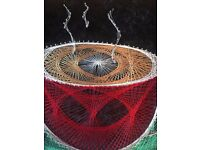 Handcrafted. One of a Kind. Artist Signed. Hip and Retro String Art Coffee Picture