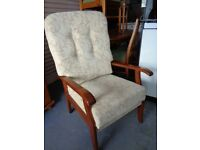 High Back Chair in Beige and Oak. Excellent Clean Condition