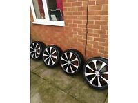 4 X ALLOY WHEELS AND TYRES 205 40 17 FORD PEUGEOT VAUXHALL 4 STUD MULTIFIT