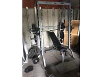 Weights bench press dumbbells plates