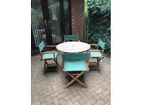 Garden Table & 4 Directors Chairs