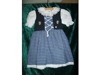 Alpine Austrian Girls' Traditional Dirndl Dress and Blouse 98-104cm (age 3-4 approx)