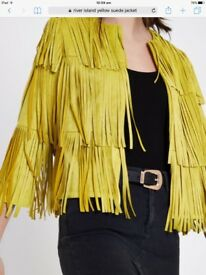 Womens river island jacket size 14 faux Seude fringed