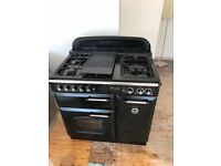 Rangemaster Classic 90 Dual Fuel Black and Chrome with matching hood
