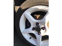 "4x100 15"" white alloy wheels with good tyres"