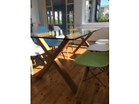 Habitat Oak and Glass Dublin Table