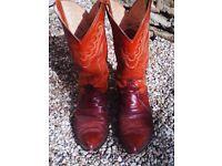 Men's brown lizard skin boots