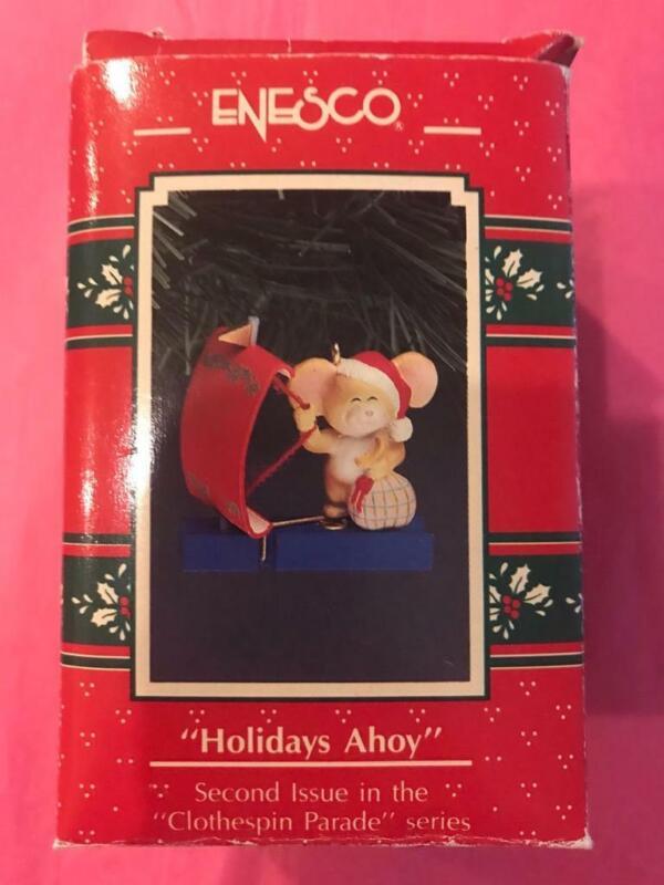 Enesco Ornament 1991 Holidays Ahoy Mouse Mice Sailboat 2nd Clothespin Parade