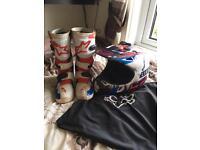 Kids motocross boot and helmet