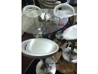 Dining Table Italian Glass + 4 classic chairs round easy dining Refer picture
