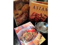 3 Indian cook books with 3 balti pots