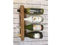 Wall Mounted Wooden Bottle Holder - Oak Beeswax Holds 4 Bottles