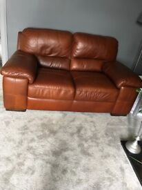 2&3 brown Italian leather sofa's