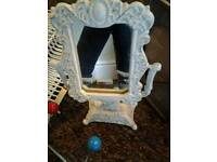 Cast iron dressing table mirror