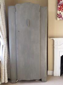 Vintage French grey Lebus wardrobe