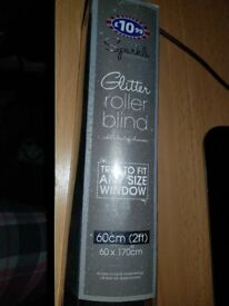 Black Glitter Roller Blind NEW