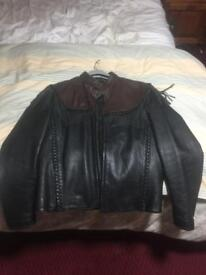 """Willie G - HD two tone leather jacket with tassles 40"""""""
