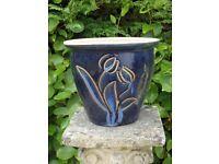 Blue Glazed Ceramic Garden Planter Tulip Detail Garden Pot Plant Pot 22cm Tall
