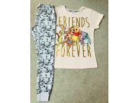 Ladies Cotton Disney Winnie The Pooh Pyjamas Forever Friends 8-10/12-14/16-18