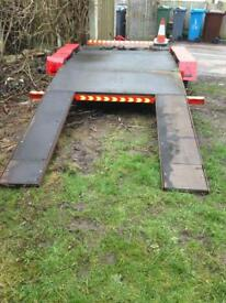 Car transport trailer, beaver tail flat bed 11 ft by 5 ft 8 inches wide load bed only