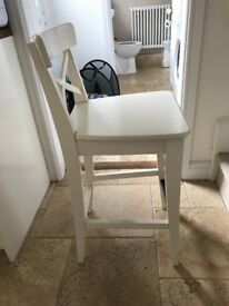 2 White Bar Stools with backrest