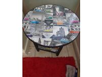 ROUND BLACK SHABBY CHIC VW SIDE TABLE FOR SALE.