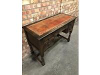 Old Charm Desk Five Draw Vintage Red Leather top