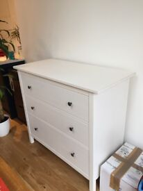 White IKEA Hemnes Chest of 3 Drawers