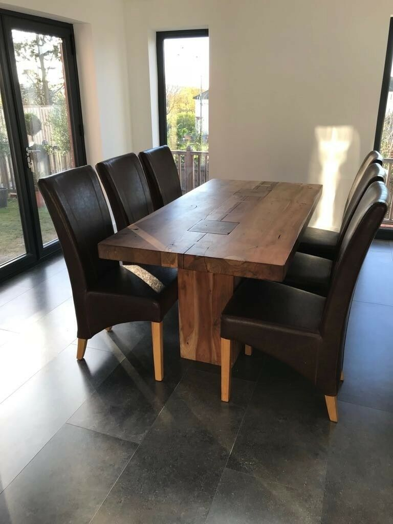 Faux Brown Leather Dining Room Chairs X6 Image 1 Of 4