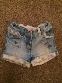 Next Denim shorts age 9-12 months