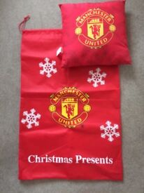 Manchester United cushion and Christmas sack