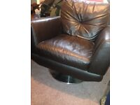 Leather corner sofa with swirl chair and foot rest