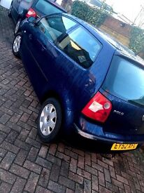 Blue VW Polo. Manual. Petrol. Runs smoothly. Excellent first car